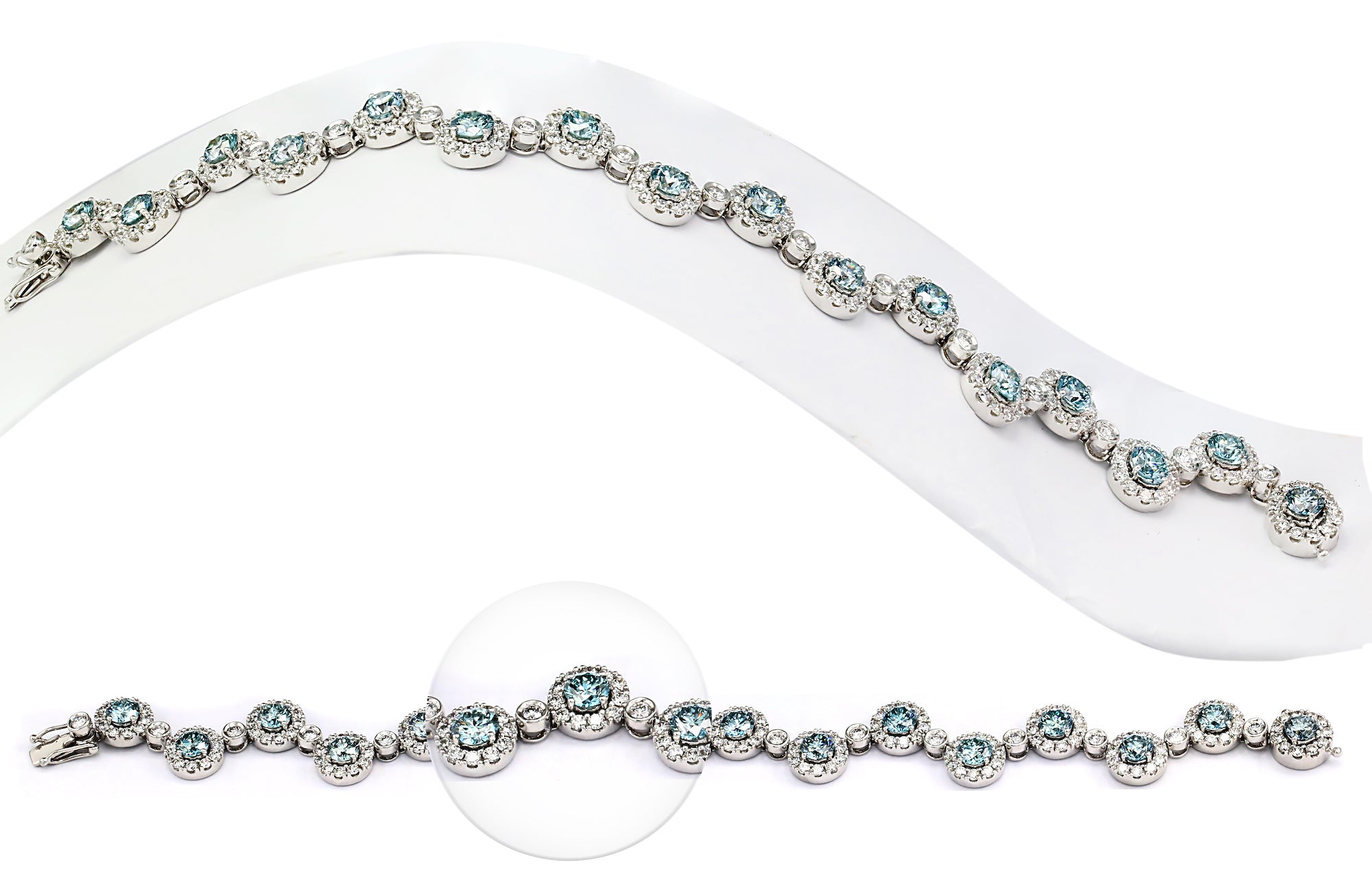 14K White Gold 13.60CTTW Ice Blue and White Lab Grown Diamond Zigzag Bracelet