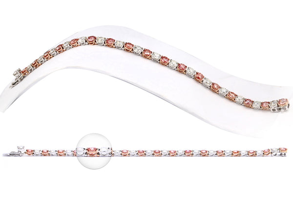 14K White and Rose Gold 18.80CTTW Pink and White Lab Grown Diamond Tennis Bracelet