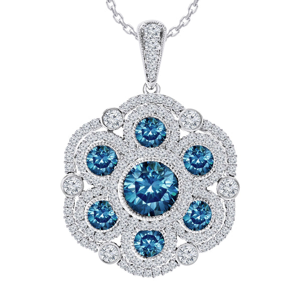 14K White Gold 4.20CTTW Royal Blue and White Lab Grown Diamond Pendant