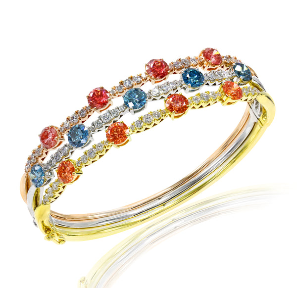 14K Tri-Gold 8.20CTW Lab-Grown Multicolor and White Diamond 3 Row Bangle