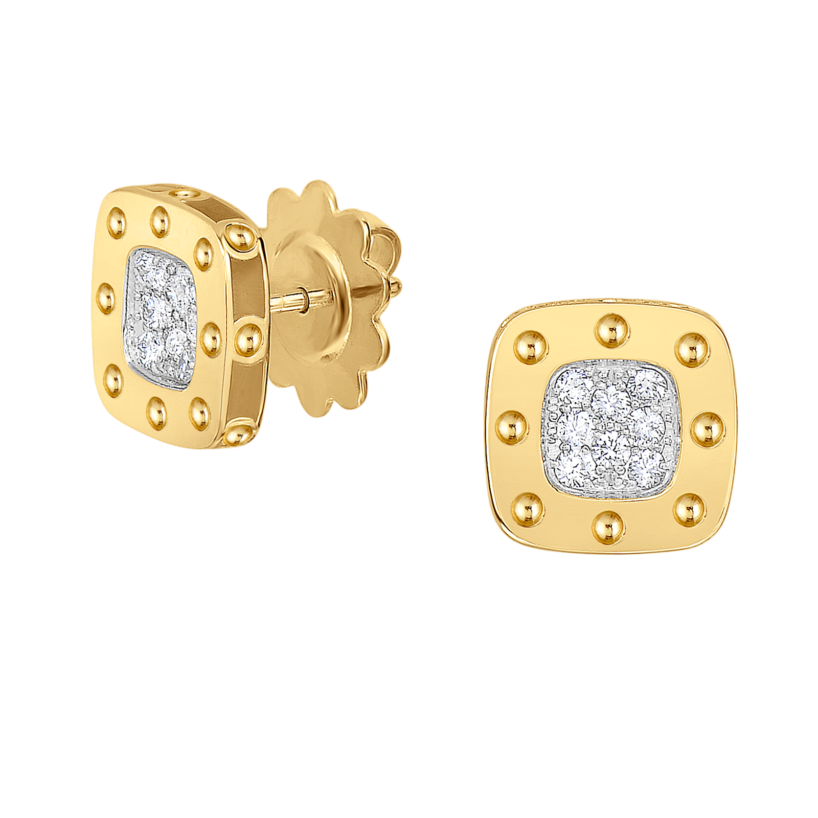 18K Yellow Gold Square Stud Earrings With Diamonds