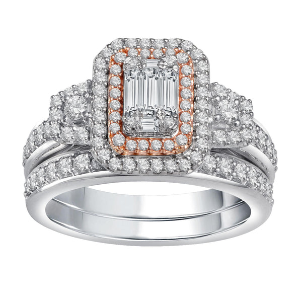 Emerald Cut Bridal Set Diamond Ring 14k White Gold (1 ct. tw.)