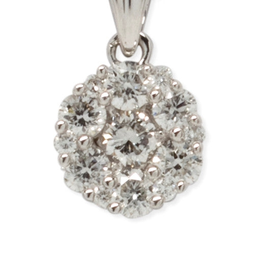 Diamond Cluster Necklace 14k White Gold (0.50 ct. tw.)