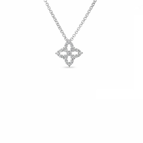 PRINCESS FLOWER NECKLACE WITH SMALL DIAMOND PENDANT