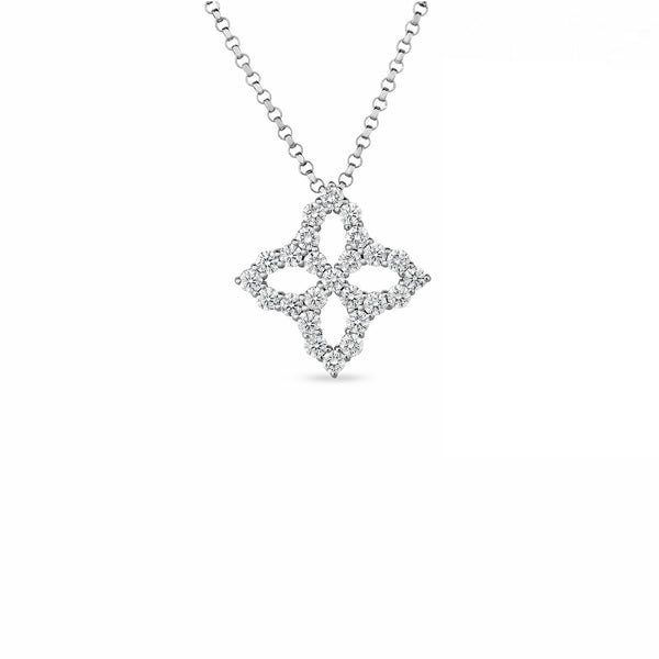 PRINCESS FLOWER NECKLACE WITH MEDIUM DIAMOND PENDANT