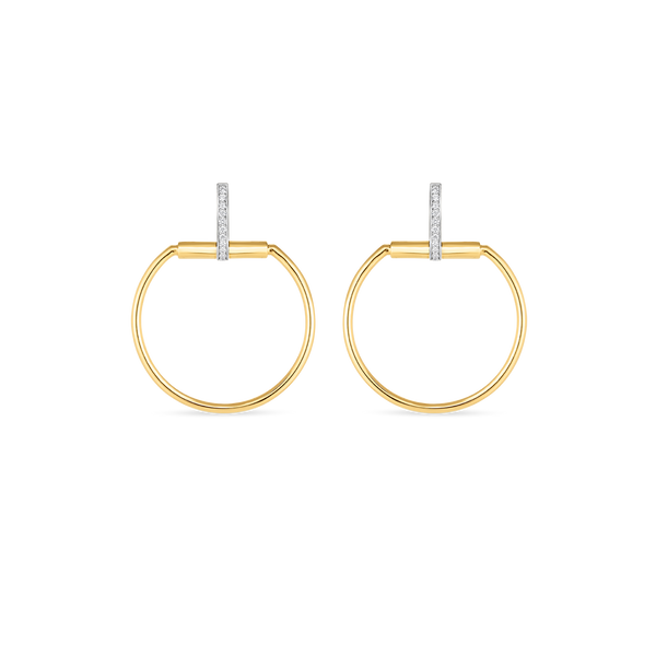 18K Yellow Gold Classic Parisienne Drop Earring With Diamonds