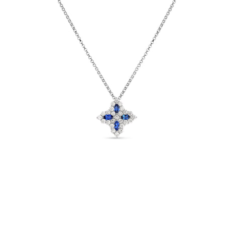 18K White Gold Diamond & Sapphire Princess Flower Medium Pendant