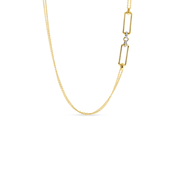 18K Yellow Gold Long Chain With Rectangular Elements & Diamond Accents