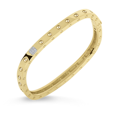 18K Yellow Gold 1 Row Square Bangle With Diamonds