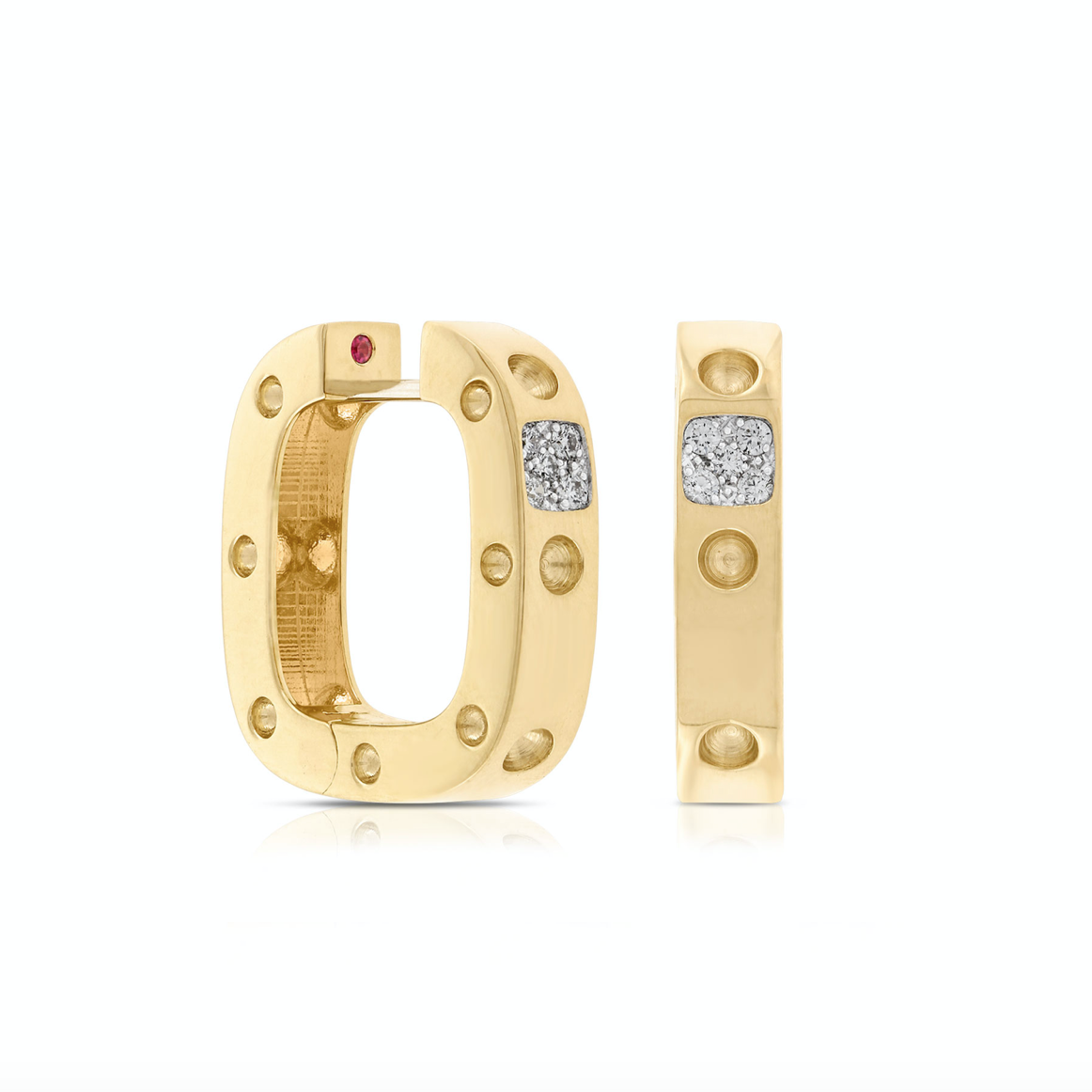 18K Yellow Gold Pois Moi Diamond Square Hoop Earrings