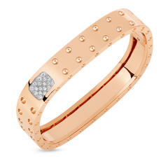 18K Rose Gold 2 Row Square Bangle With Diamonds
