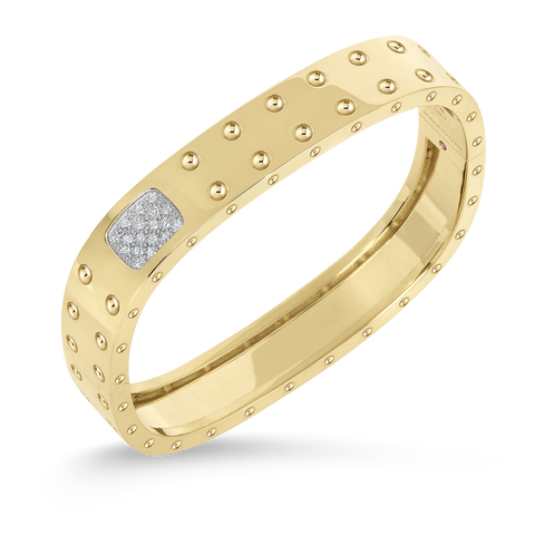 18K Yelow Gold 2 Row Square Bangle With Diamonds