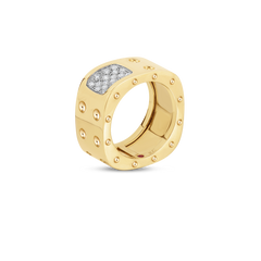 2 Row Square Ring With Diamonds 18K Yellow Gold