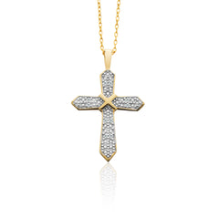 1/10 CTTW Diamond Cross Pendant