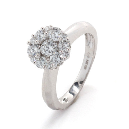 Diamond Cluster Ring 14k White Gold (1 ct. tw.)