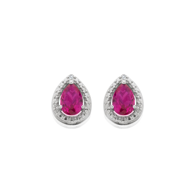 Created Ruby And Diamond Accent Earrings