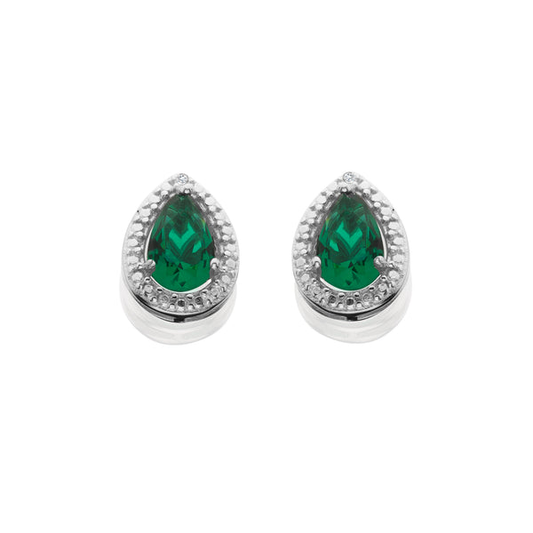 Simulated Emerald And Diamond Accent Earrings