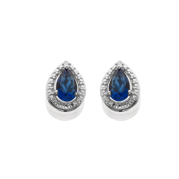 Created Sapphire And Diamond Accent Earrings