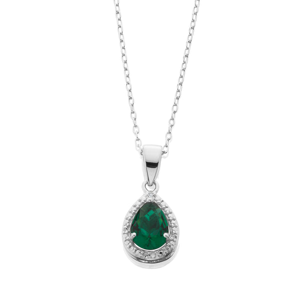 Simulated Emerald And Diamond Accent Pendant