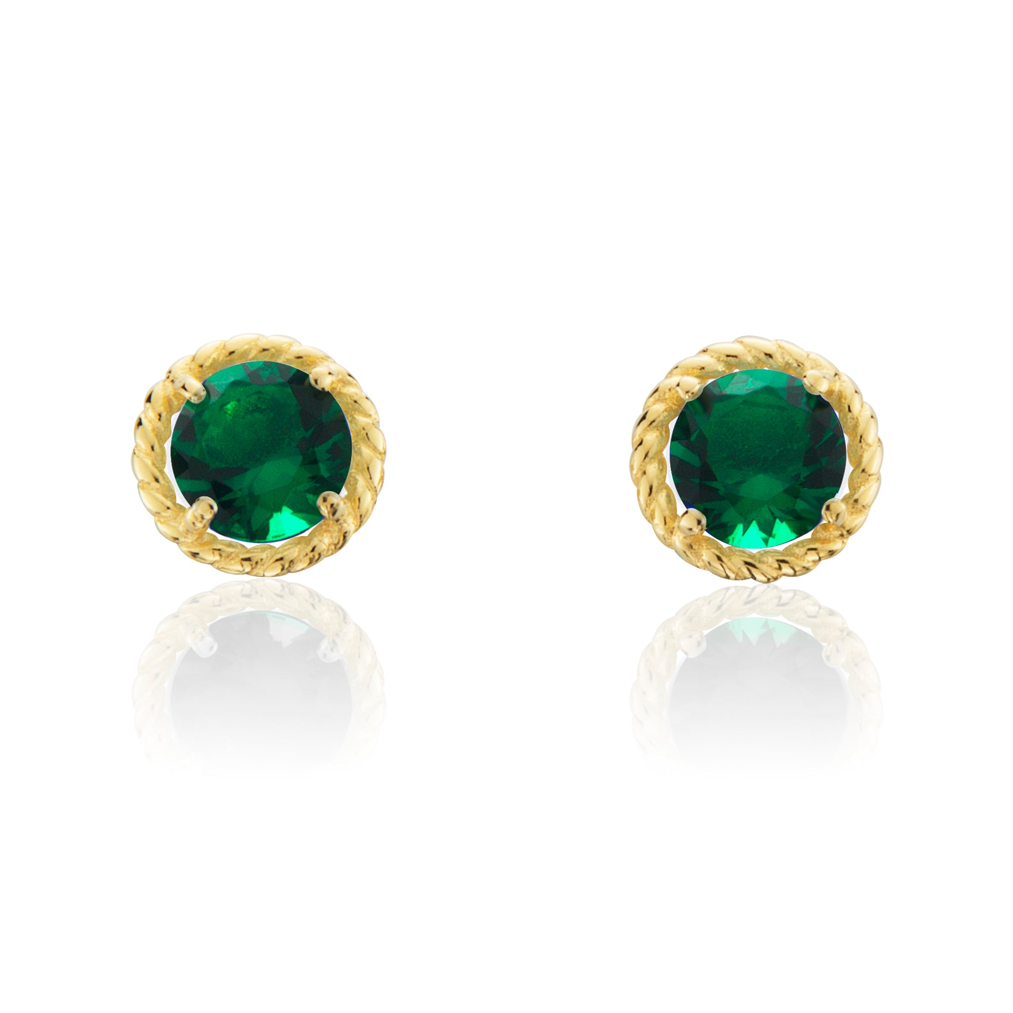 product emerald fine s gold jewellery earrings jewelry kappy yellow round front