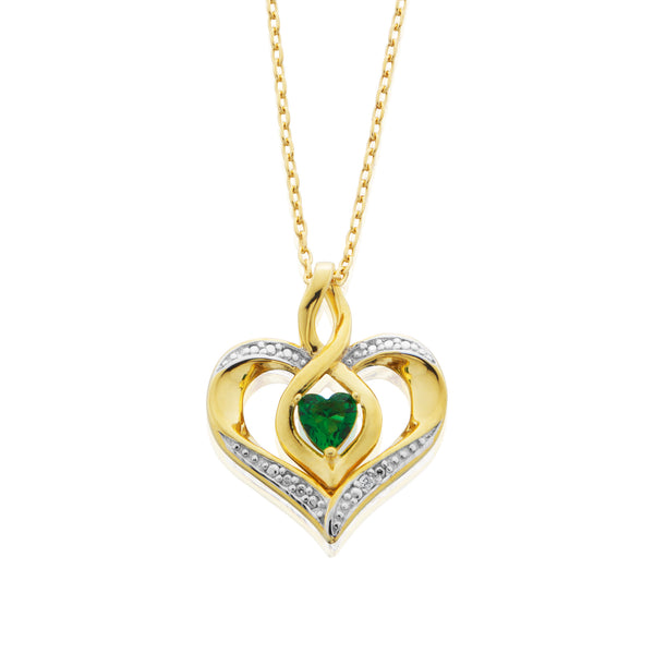 Simulated Emerald And Diamond Accented Pendant