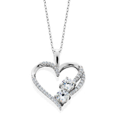 Cubic Zirconia Two Stone Heart Pendant