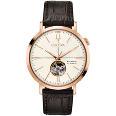 Classic Bulova Aerojet Watch rose gold stainless steel and brown leather band