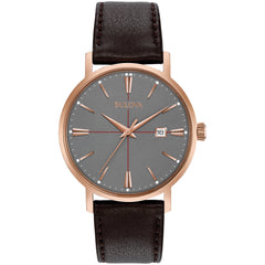 Bulova Aero Jet Mens Watch brown leather with rose gold rim