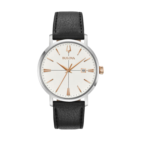 Bulova aerojet  Stainless steel case, rose gold-tone crown and accents on silver-white dial with three-hand calendar feature, box mineral glass, smooth grain black leather strap