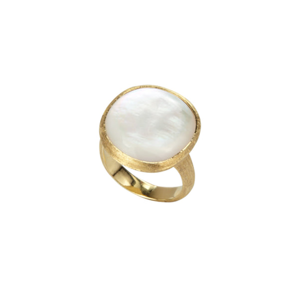 18K Yellow Gold & Mother Of Pearl Large Cocktail Ring