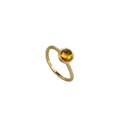 18K Yellow Gold & Rose Cut Cushion Citrine Stackable Ring