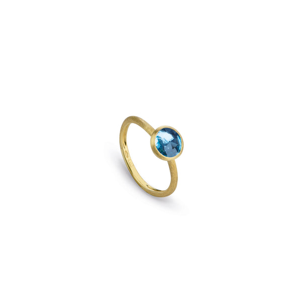 18K Yellow Gold & Rose Cut Cushion Blue Topaz Stackable Ring