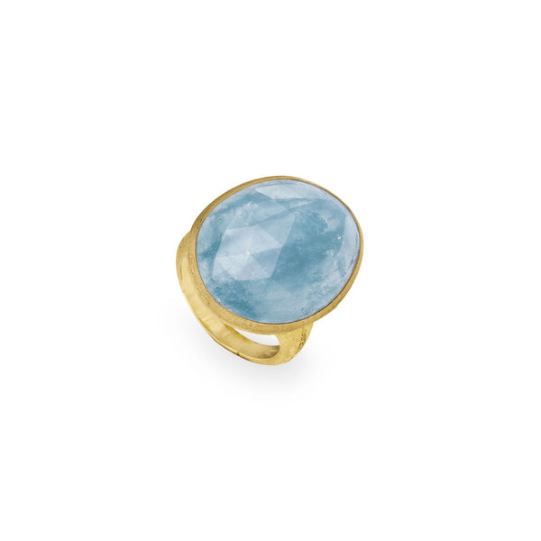 18K Yellow Gold & Large Oval Aquamarine Cocktail Ring