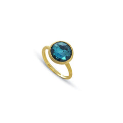 18K Yellow Gold and London Blue Topaz Ring