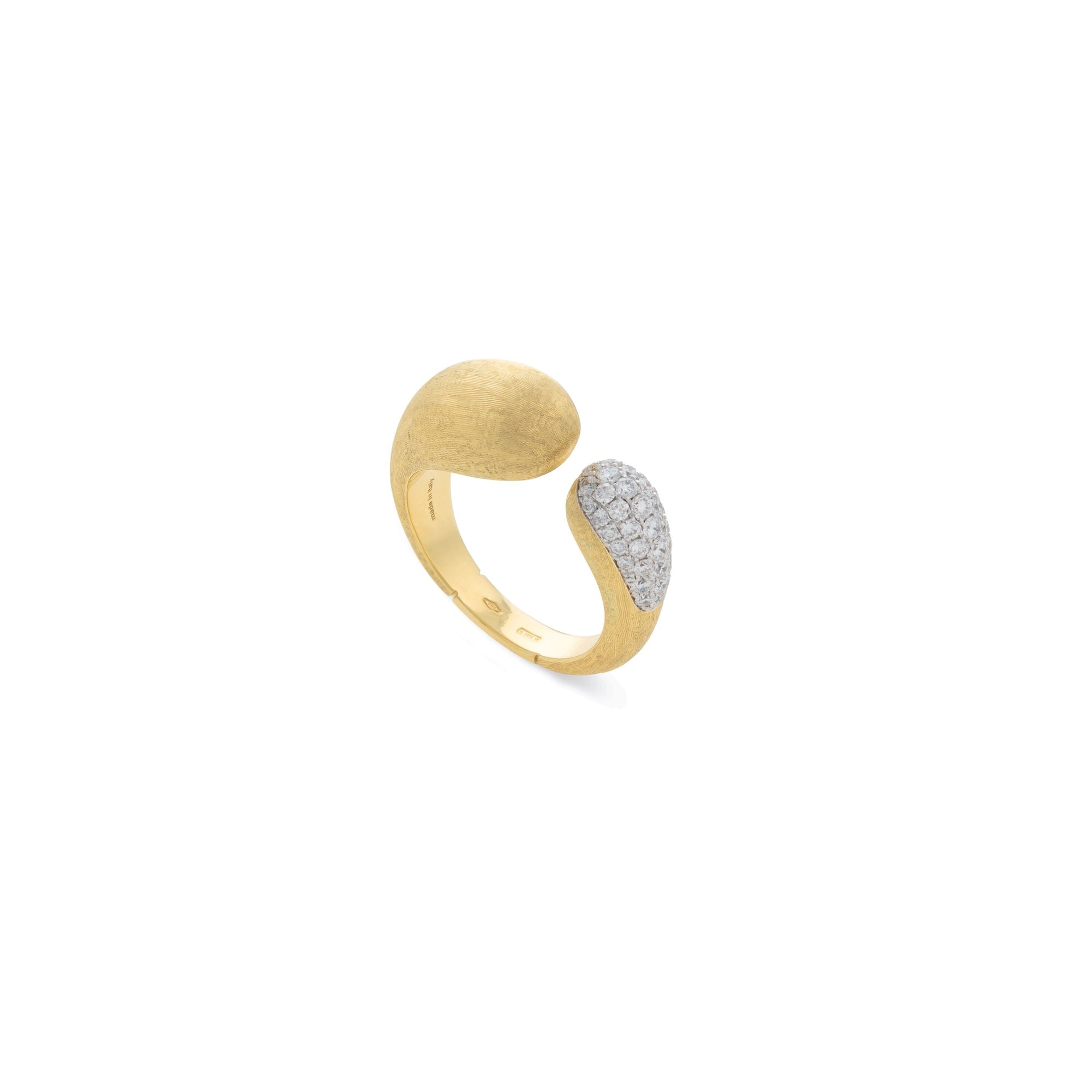 18K Yellow Gold and Diamond Kissing Ring
