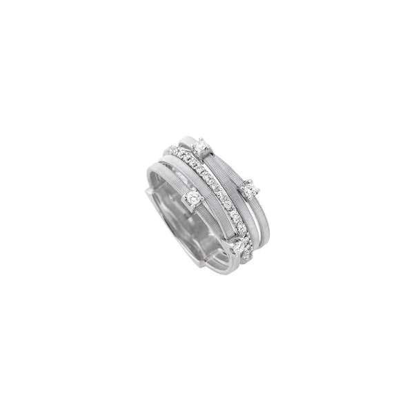 18K White Gold Five Strand Diamond & Pave Ring