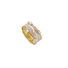 18K Yellow, White, & Rose Gold Five Strand Diamond Ring