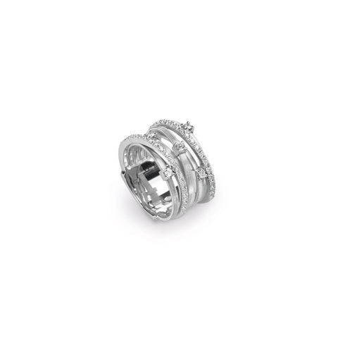18K White Gold Seven Strand Diamond & Pave Ring