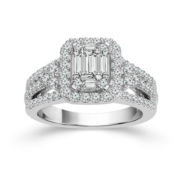 1.50 CTW Round and Baguette Diamond Ring