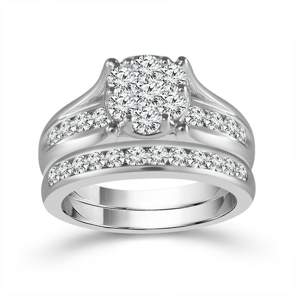 2.50 CTW Fancy Diamond Bridal Ring Set
