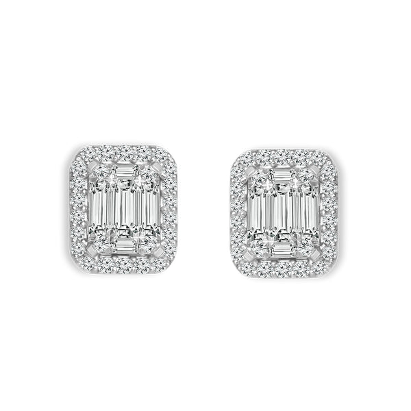0.65 CTW Round and Baguette Diamond Earrings