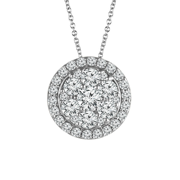14K White Gold Halo Cluster Diamond Pendant (.50 ct. tw.)