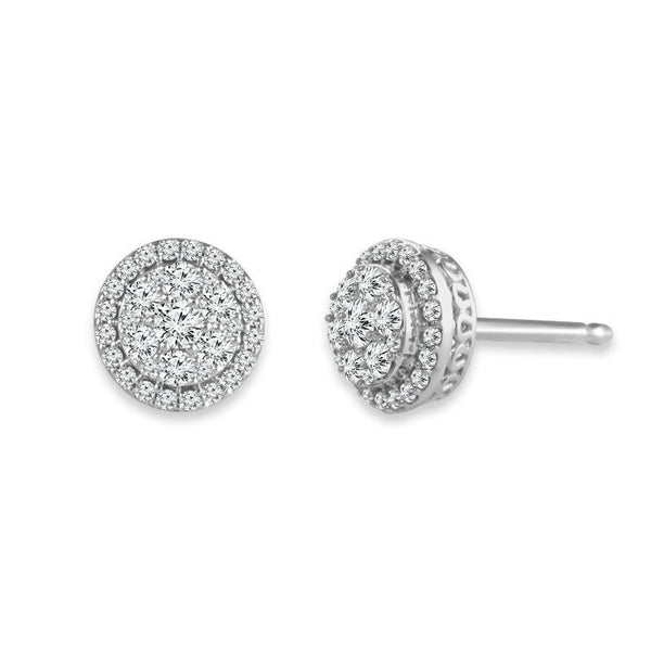 14K White Gold Halo Cluster Diamond Earrings (.50 ct. tw.)