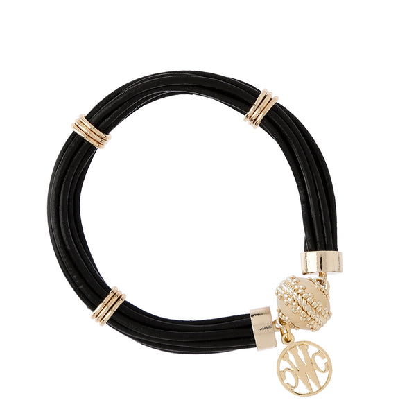 The Aspen Leather Jet Black Bracelet