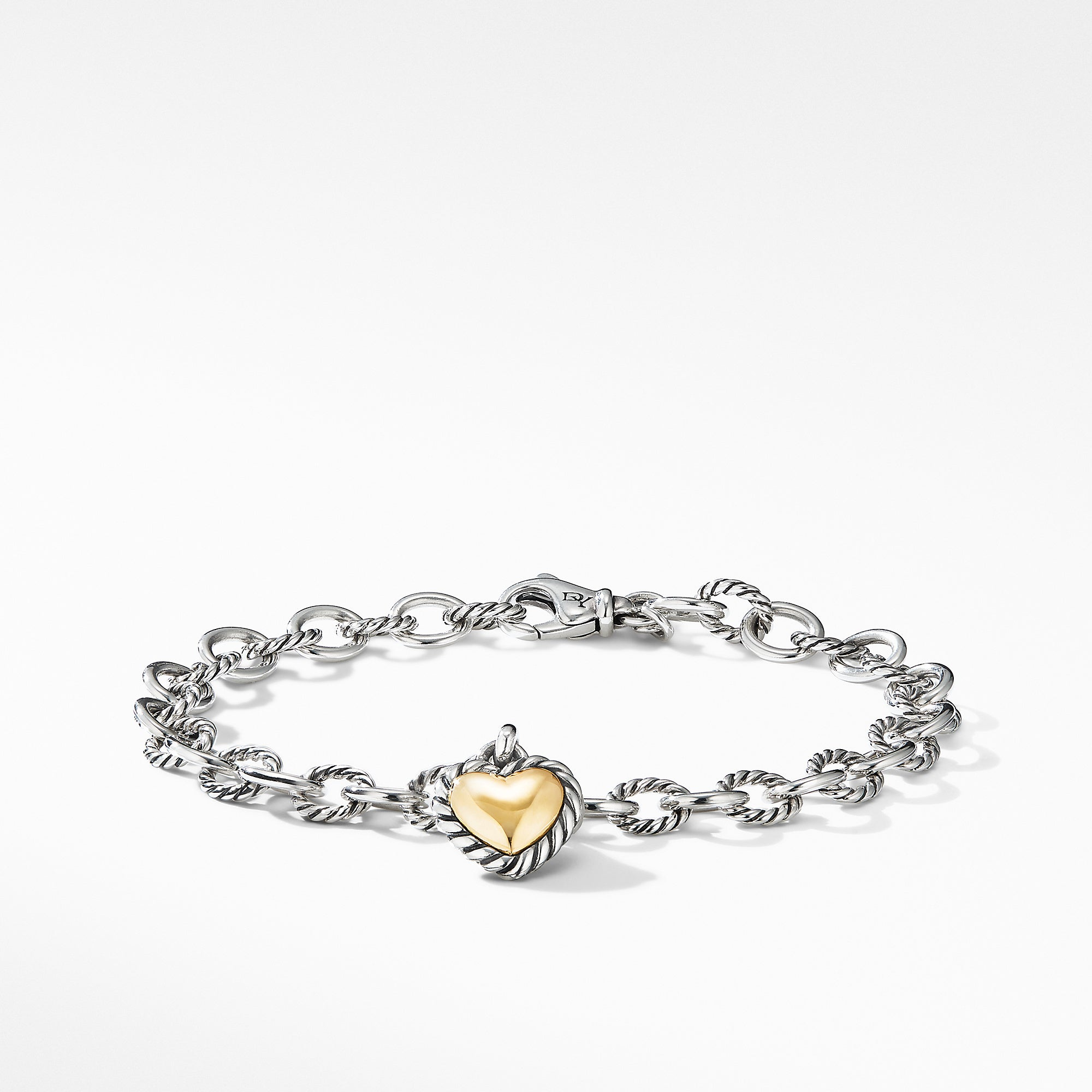 Cable Cookie Classic Heart Charm Bracelet with 18K Yellow Gold