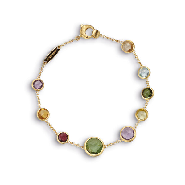 18K Yellow Gold Single Strand Mixed Gemstones Bracelet