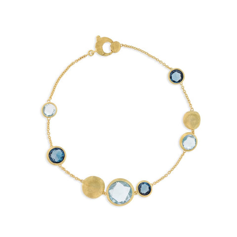 18K Yellow Gold and Mixed Blue Topaz Bracelet
