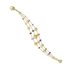 18K yellow gold and gemstone triple strand bracelet