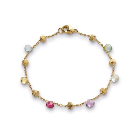 18K Yellow Gold & Mixed Stone Single Strand Bracelet