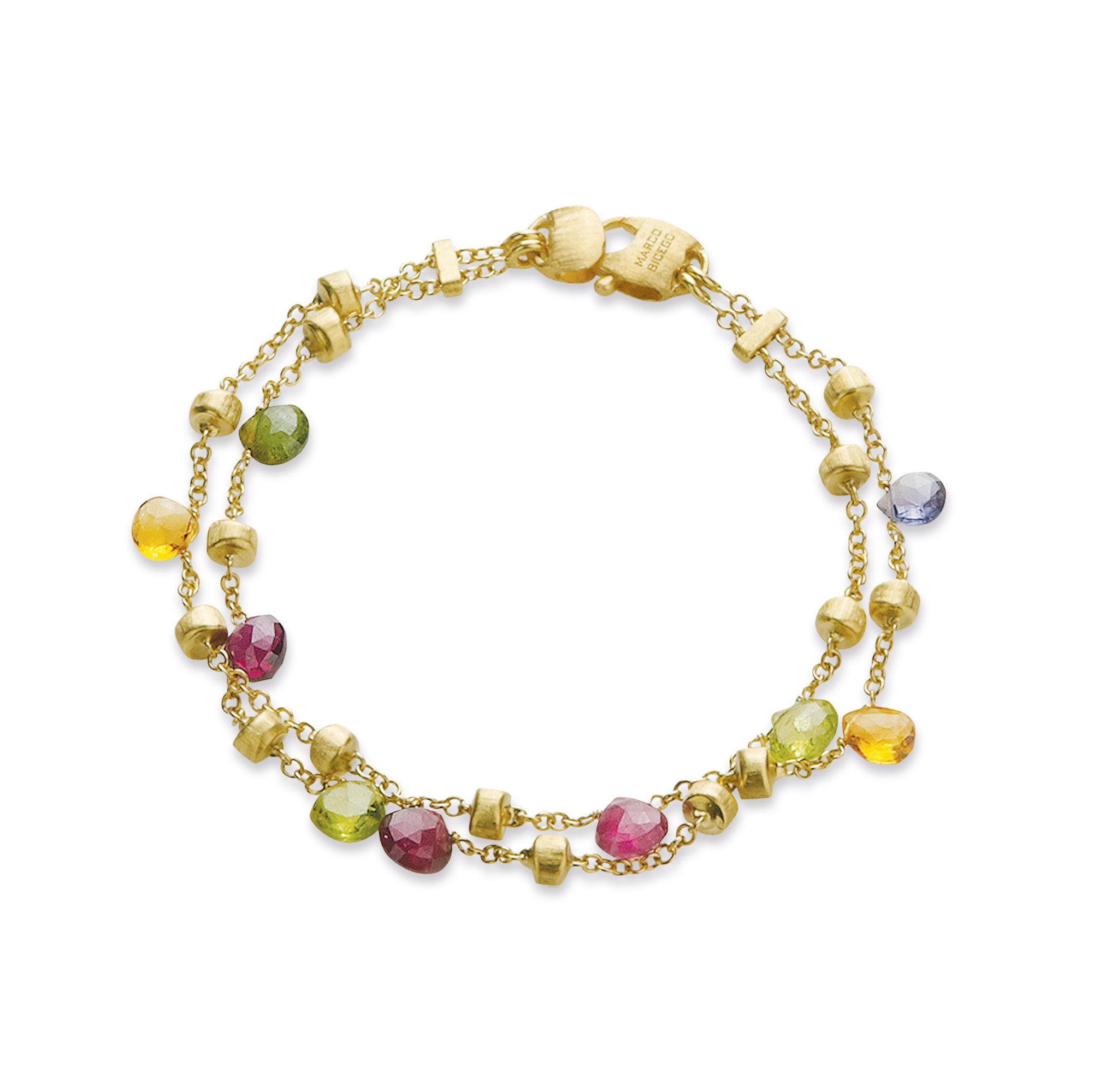 18K Yellow Gold 2-Strand Mixed Stone Bracelet